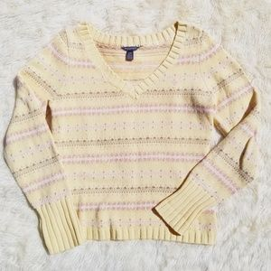 AEO yellow pastel print v neck sweater 2000s M